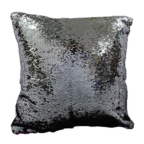 Aisence 16 x 16 Inch Fushia and Silver Sequin Pillow ...