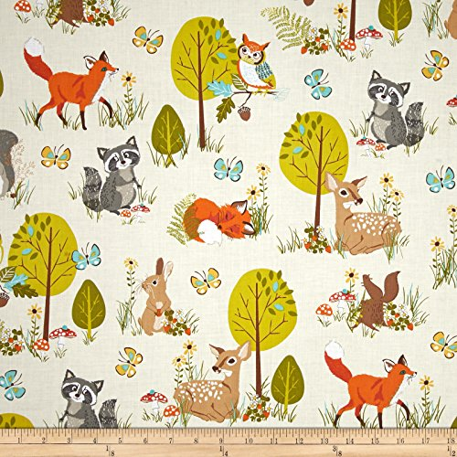 Robert Kaufman Kaufman Forest Fellow Raccoons Nature Fabric by The Yard,