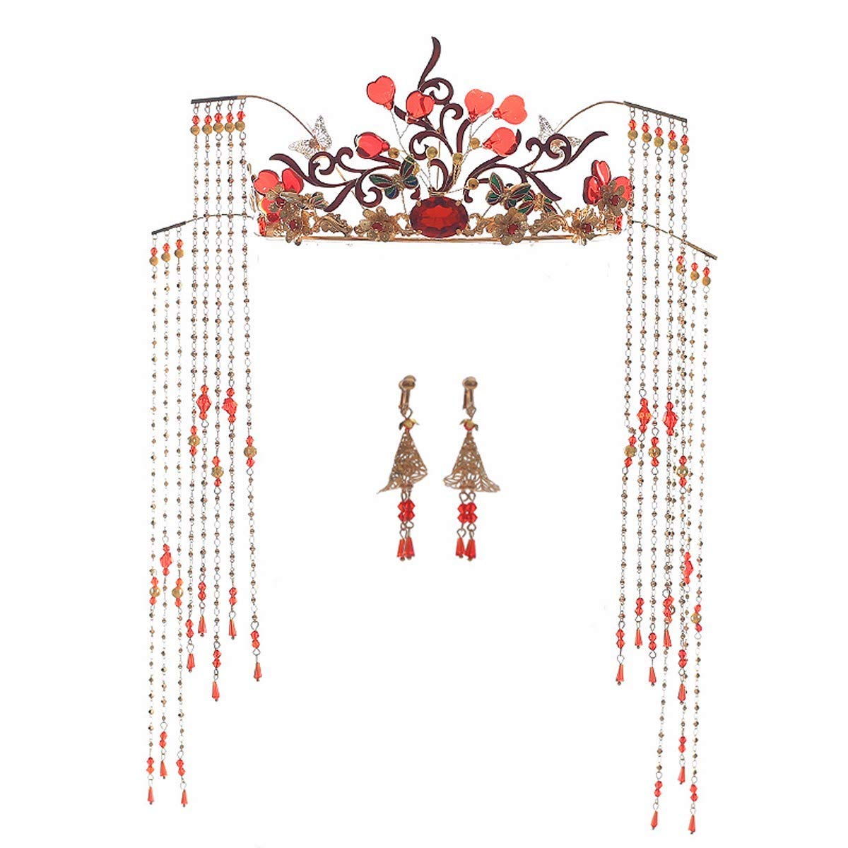 Wedding Crown, Beautiful headdress/Bridal Costume Wedding Headwear Atmospheric Chinese Style Crown Ornament Xiu Wo Costume Toast Fringed Ornaments.