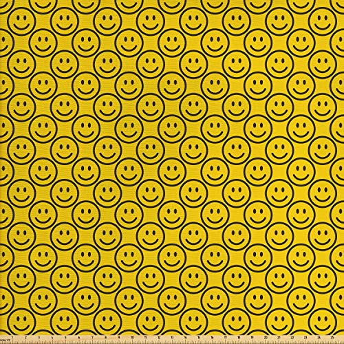 (Ambesonne Emoji Fabric by The Yard, Flat Smiley Faces Expressing Happiness in Diagonal Order Joyful Childhood, Decorative Fabric for Upholstery and Home Accents, 5 Yards, Charcoal Grey Yellow)