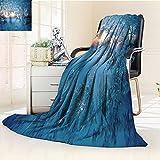 YOYI-HOME Silky Soft Plush Warm Duplex Printed Blanket, The Window Flower Close up Warm Microfiber All Season Anti-Static,2 Ply Thick Blanket/59 W by 47'' H