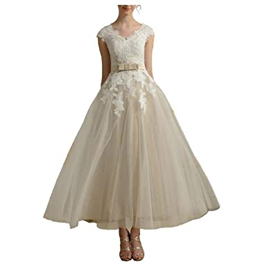 Fair Lady Womens Tea Length Wedding Dresses Bridal Gowns Prom Dress - Ivory -