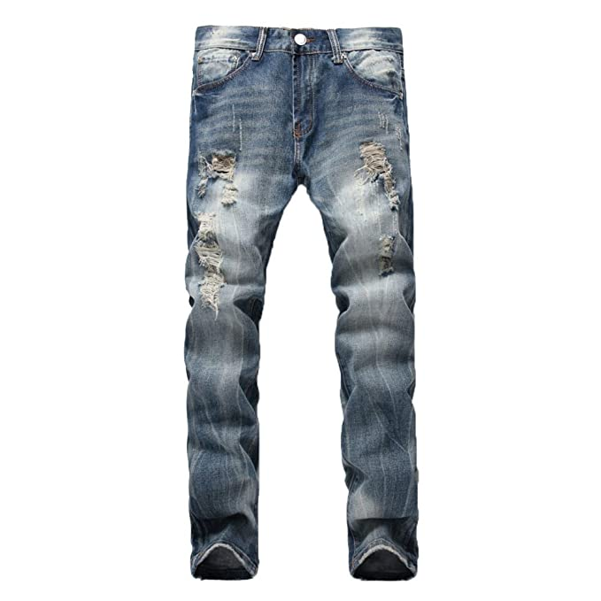 Hombre Jeans Ripped Holes Straight Casual Leisure Slim Fit ...