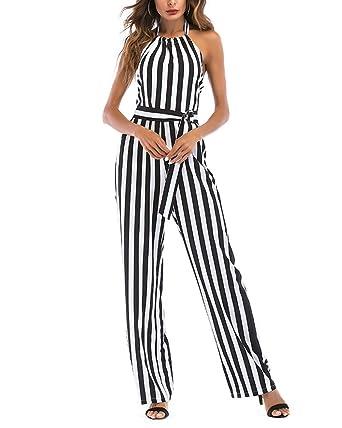 9e234995a66f9 Tomwell Combinaison Pantalon Femme Été sans Manches Rayé Taille de Cravate  Pantalons Longue Vacances Romper Jumpsuit