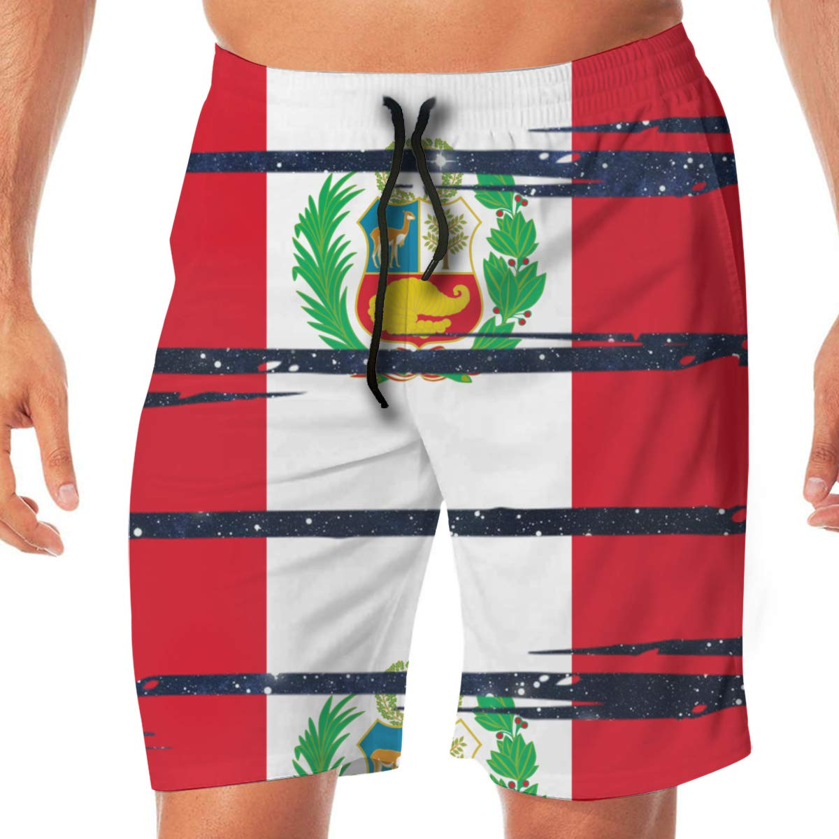YGE.I.L25 Mens Workout Shorts Peru Flag Summer Vacation Beach Board Short for Men