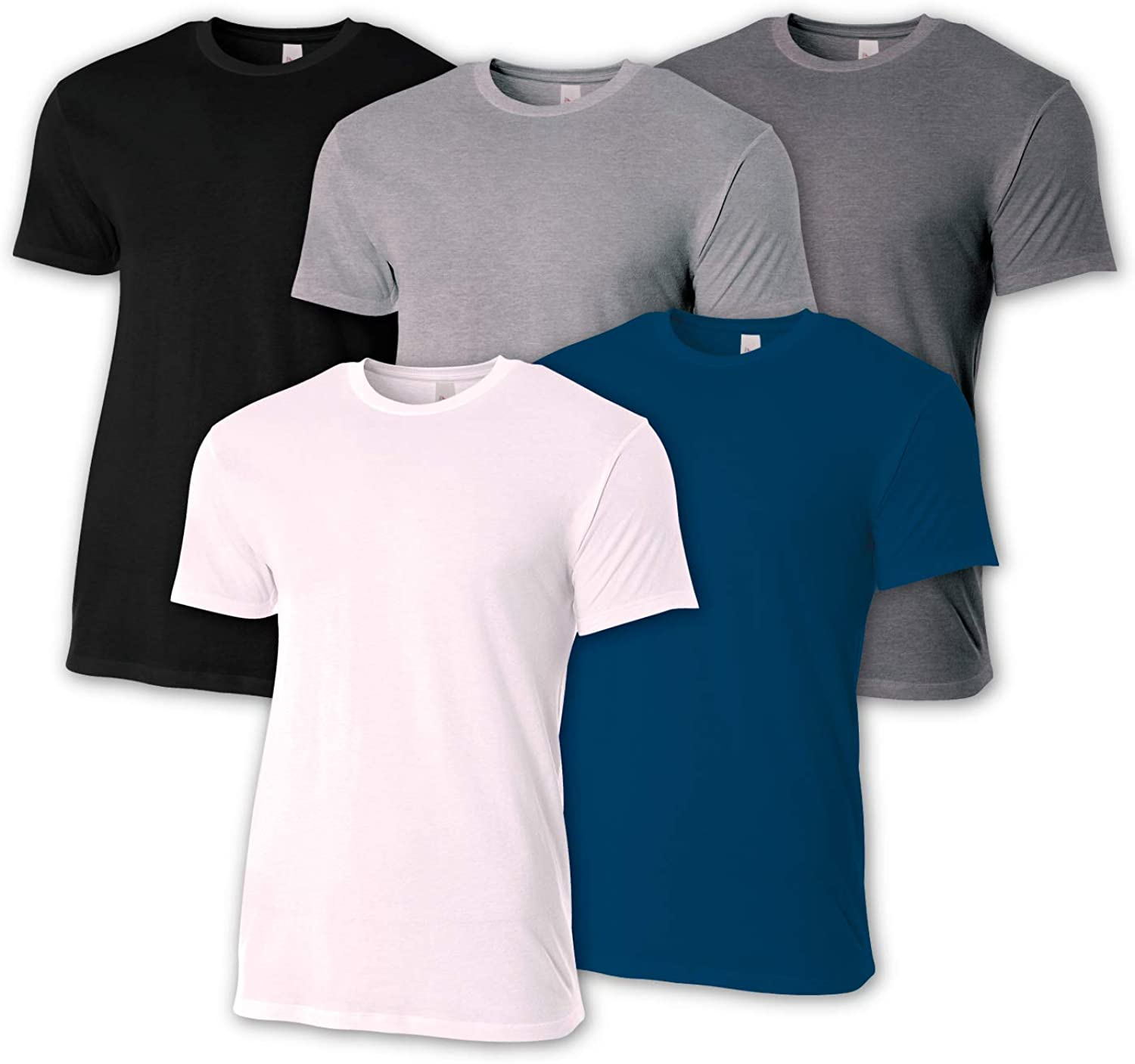 A4 Men's 5 Pack Combed Ring Spun Fitted Cotton Tee