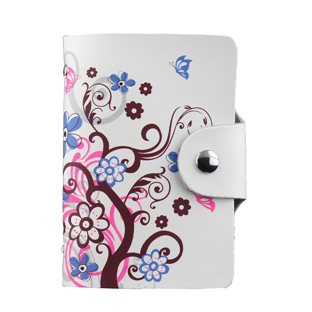 Women Leather Business card holder Credit Card Case Pocket Book Style 26 Slots
