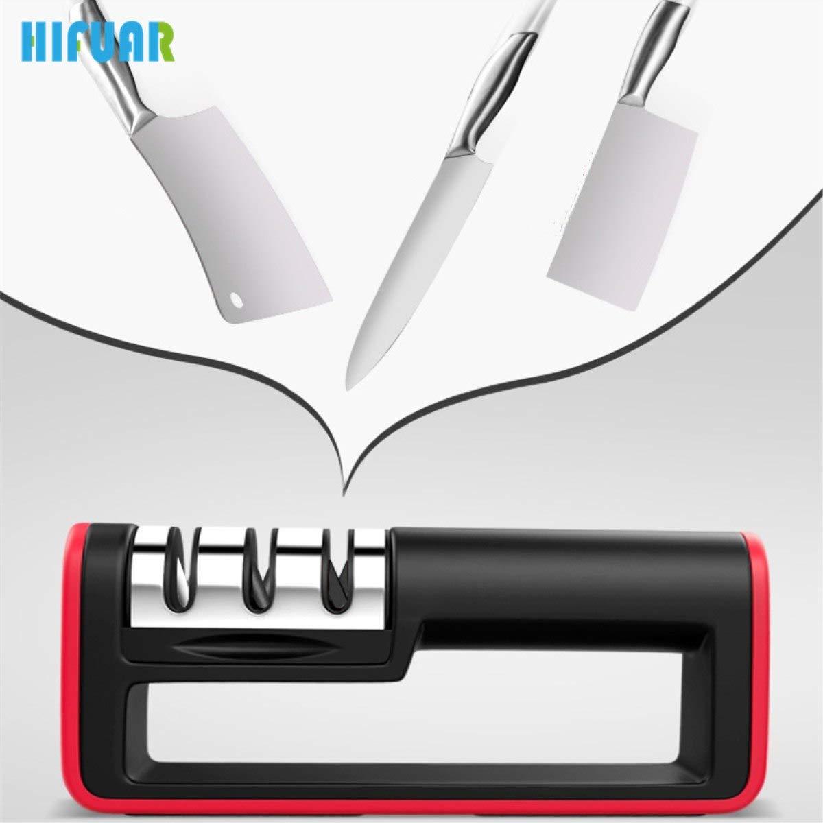 Amazon.com: Hifuar cuchillo afilador de 3 etapas afilador de ...