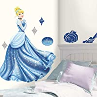 RoomMates Disney Princess - Cinderella Glamour Peel and Stick Giant Wall Decal,Glamour Giant