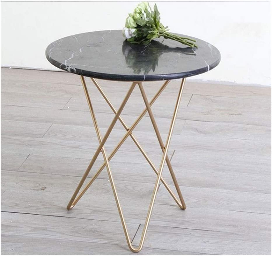 ZOUJUN Retro Marble Side End Table for Canapé Petite Ronde Morden Café avec Jambes en métal d\'or for Salon Chambre Balcon guéridon 48x55cm (Color : White) White