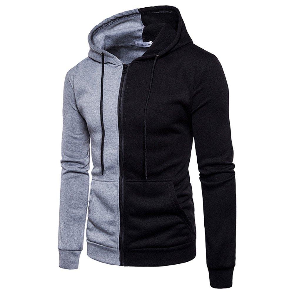 UONQD Men Long Sleeve Hoodie Stitching Zipper Coat Jacket Outwear Sport Tops (Medium,Gray)
