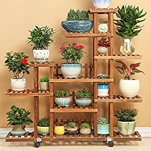 Solid wood flower rack / balcony multi-storey wooden living room plant rack / bonsai frame / floor-style indoor flower shelf ( Style : A )