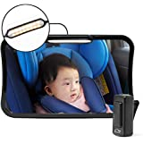 Moyu Home Infant Rear Facing Car Seat Mirror   Adjustable Smart Dual Mode LED Light with Remote   Crystal Clear View with 360 Degree Pivot   Full Assembled with Shatterproof Glass Black