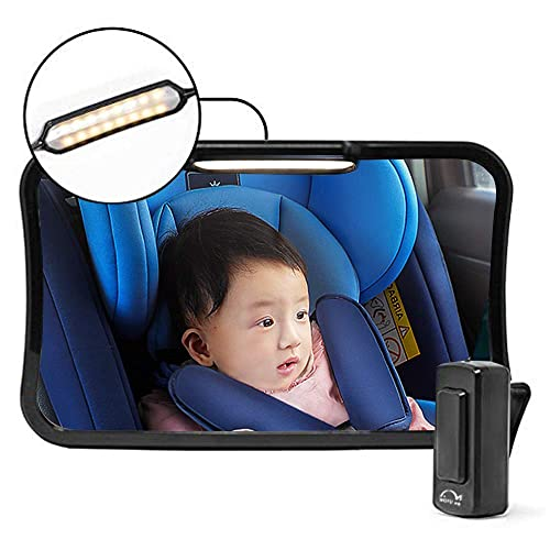 Moyu Home Infant Rear Facing Car Seat Mirror | Adjustable Smart Dual Mode LED Light with Remote | Crystal Clear View with 360 Degree Pivot | Full Assembled...