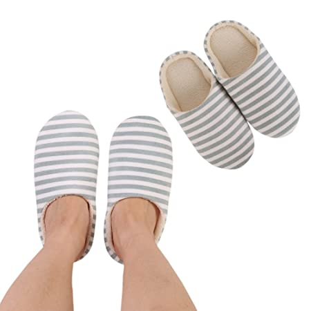4dd0b6e5d8e3 Bedroom Slippers Indoor Slippers Cozy Anti-Slip Sole Washable Womens Mens  Stripe Decor Closed Toe House Slippers All Seasons Suitable  Amazon.co.uk   Kitchen ...