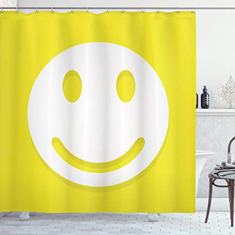Ambesonne Yellow Shower Curtain Rise Wake Up Positive Optimistic Life Message Big Smiling Happy Face Artwork Cloth Fabric Bathroom Decor Set With Hooks 84 Long Extra Yellow And White Home