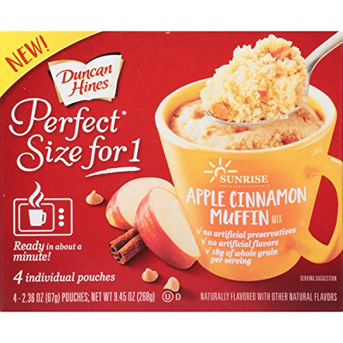 Apple Butter Muffins - Duncan Hines Perfect Size for 1 Breakfast Muffin and Cake Mix, Apple Cinnamon Muffin, 4 individual pouches