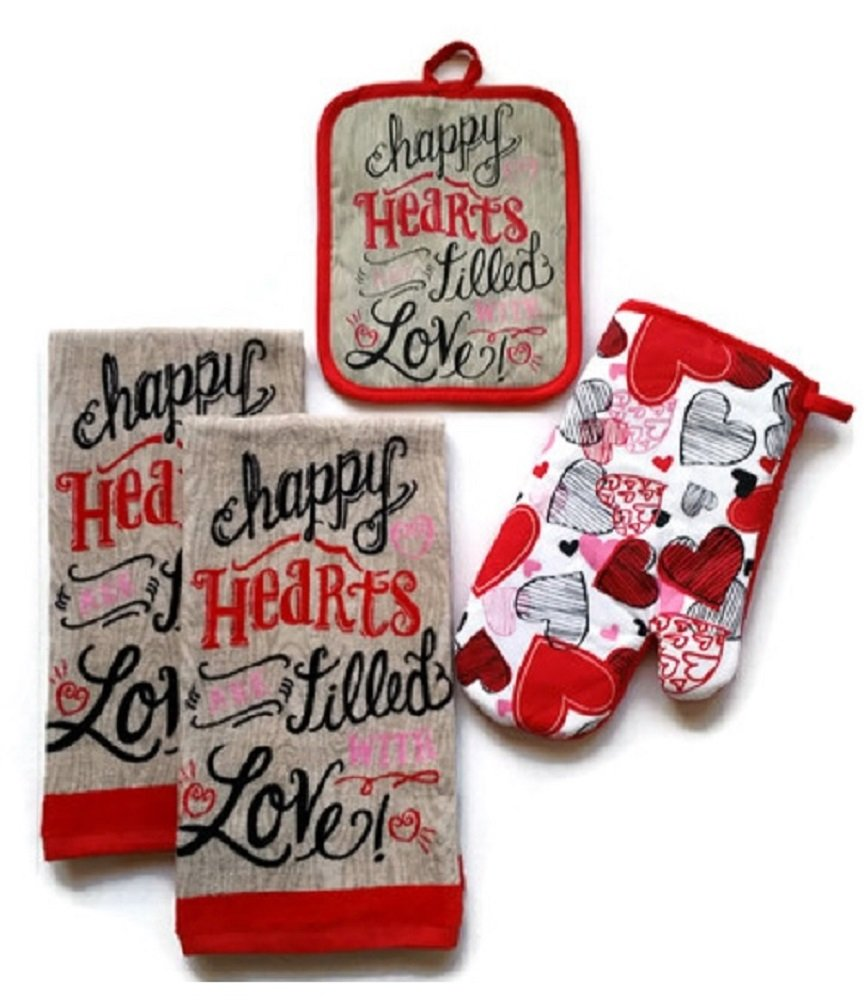 Valentines Day Kitchen Towels Happy Hearts Bundle with Dish Towels Pot Holder and Oven Mitt