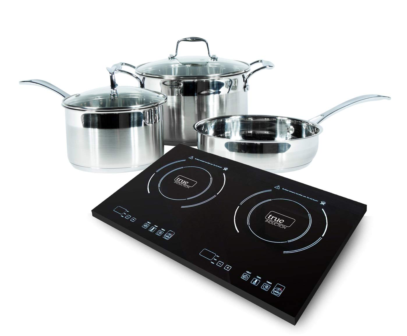 True Induction 2 burner portable cooktop with 5 pc induction cookware by True induction Cooktop -Wolfe induction cookware (Image #1)