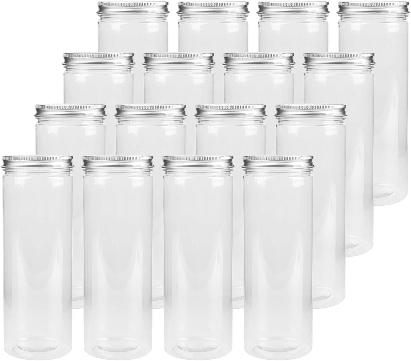 Tebery 16 Pack Plastic Spice Jars Bottles Containers with Lids 17oz Clear Straight Cylinders Plastic Canisters for Food & Home Storage