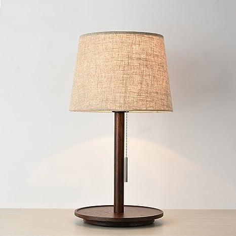 Lámpara de mesa Nan Tela de Madera Maciza de Nogal Color de ...