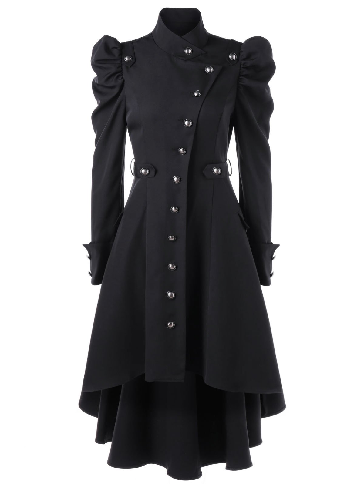 Nihsatin Vintage Steampunk Victorian Swallow Tail Long Trench Coat Jacket Puff Shoulder Single Breasted Black by Nihsatin