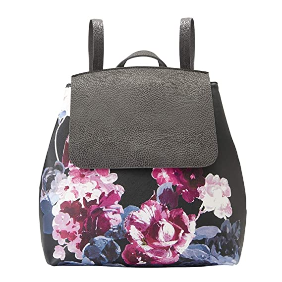 Joules Women s Trippa Printed PU Rucksack - Black Winter Floral - One Size 9f498c61b