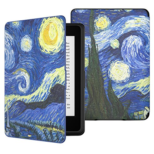 MoKo Case for Kindle Paperwhite, Premium PU Leather Cover with Auto Wake/Sleep Fits All Paperwhite Generations Prior to 2018 (Will not fit All-New Paperwhite 10th Generation), Starry Night