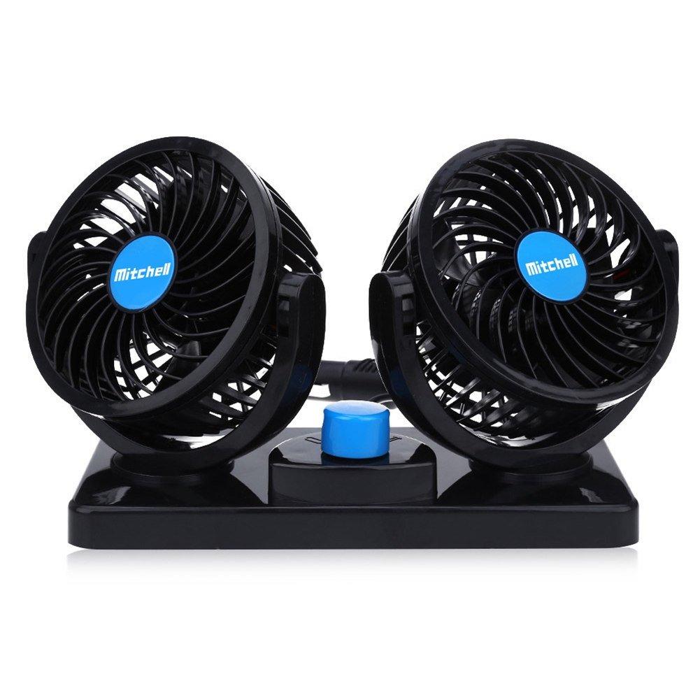 Ventilatore 12 Volt Doppia Testa Ventola di Raffreddamento avec Accendisigari Auto, Due velocità regolabile e rotazione manuale a 360 gradi. Due velocità regolabile e rotazione manuale a 360 gradi. Fanzhou
