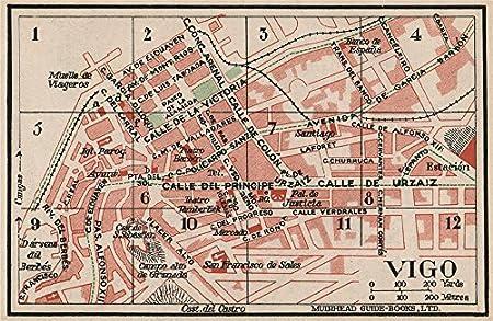 Map Of Spain Vigo.Vigo Vintage Town City Map Plan Spain 1930 Old Antique Vintage