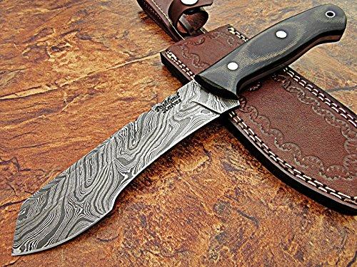 Poshland REG-Hk-384, Handmade Full Tang Damascus Steel 11 Inches Tactical Knife - Beautiful Black Grey Canvas Micarta Handle