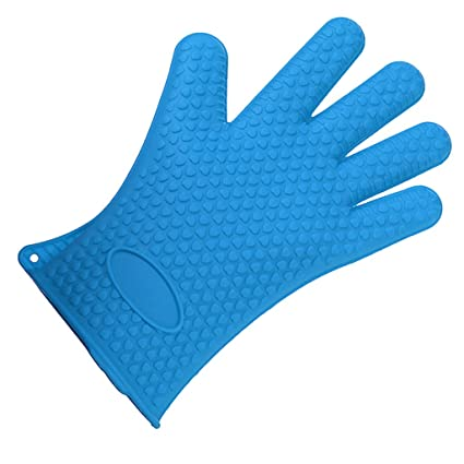 Generic Imported Silicone Glove Nonslip Waterproof Mitts Heat Hot Resistant Cook Holder-Blue