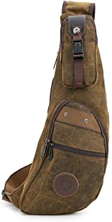 LiShihuan Casual Herren Brusttasche Reißverschluss Wasserdichte Canvas Messenger Bag Schultertasche Braun (Color : Photo Color)
