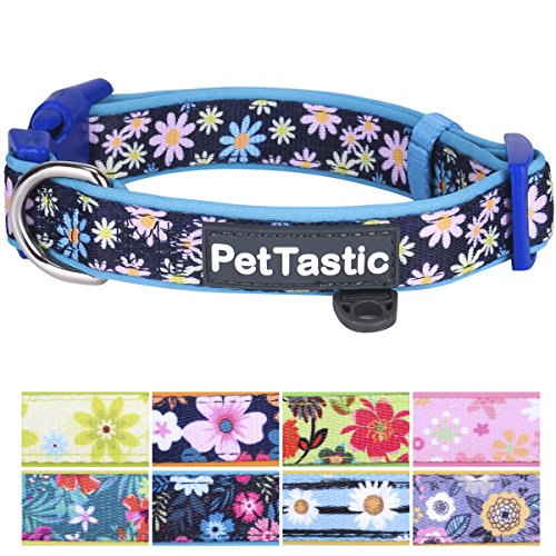 PetTastic Best Adjustable Large Dog Collar Durable Soft & Heavy Duty with Cute Floral Design, Outdoor & Indoor use Comfort Dog Collar for girls, boys, puppy, adults, including ID Tag Ring