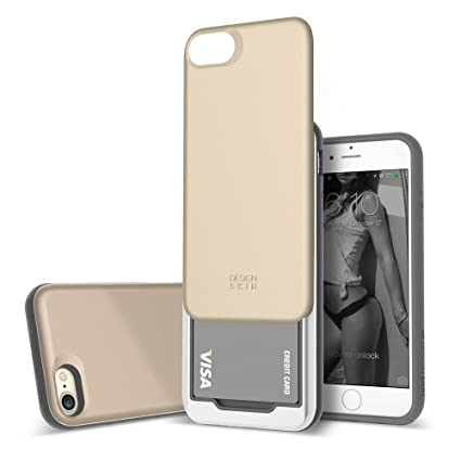 iphone 8 case card holder gold