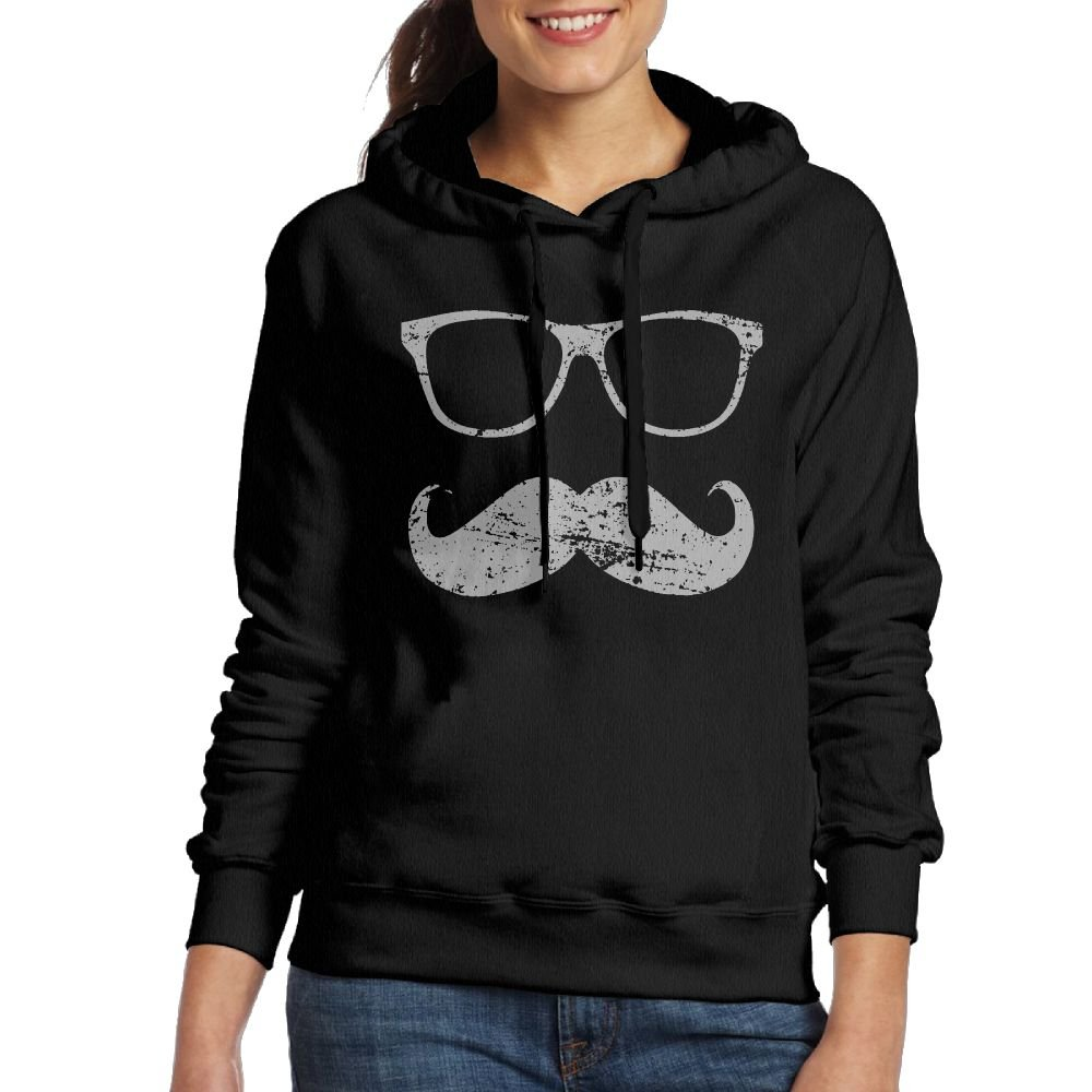 Funny Mustache and Sunglasses Fashion Sports Black Hoodie Wxf Womens Incognito