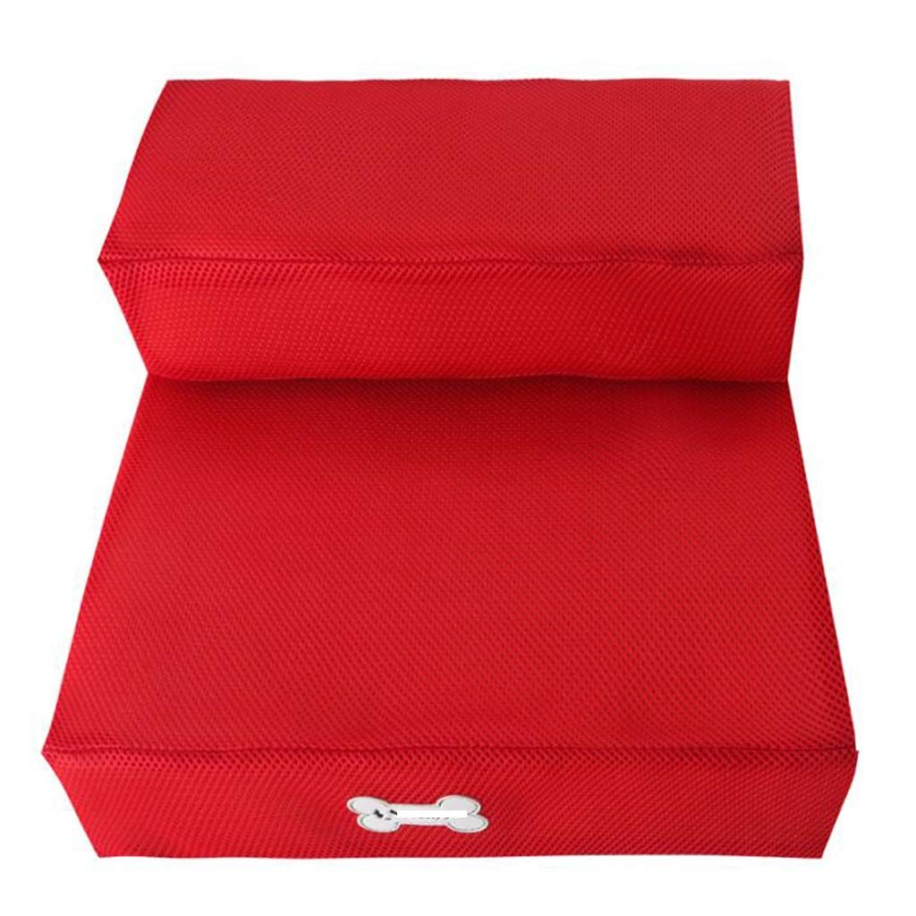 NYDZDM Pet Dog Stairs Breathable Mesh Collapsible Dog Training Play Stairs Sponge Mat Climbing Bed Ladder, Red