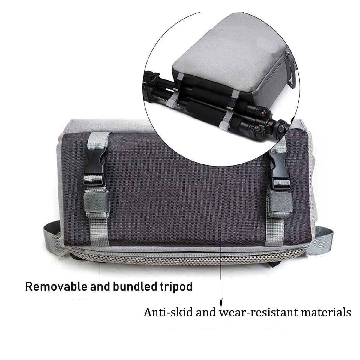 Tubackpack Camera Bag DSLR Laptop Backpack Waterproof Travel Large Size Water Resistant Lens Tripod and Accessories for Men Women L5-L, Light-Grey