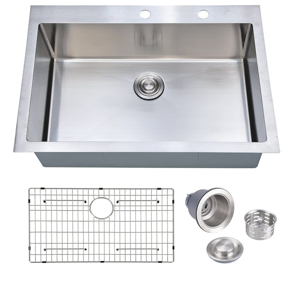 33 x 22 inch Handcrafted Topmount Single Bowl 16 gauge Stainless Steel Kitchen Sink with Grid and Drainer