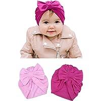 Honey Molly Turbantes para Bebe Niña Rosas Baby - Gorros - Gorritos - Recien Nacido - Verano - con Moño Moñitos - Licra Seda de Algodon - Material Super Suave - Sombrero - Set de 2