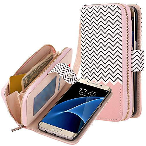 Galaxy S7 Edge Case, E LV Galaxy S7 Edge - 2IN1 (CASE Cum Purse) PU Leather flip Wallet Bag Pouch Case Cover for Samsung Galaxy S7 Edge - [Zigzag/Rose Gold]