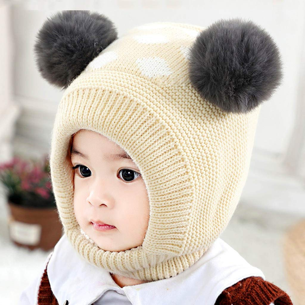 Newborn Infant Toddler Knit Hat Scarves 3 Years Iuhan Baby Girls Boys Winter Hat Scarf Earflap Hood Scarves Skull Caps Snow Neck Warmer Cap Kids 6 Months Beige