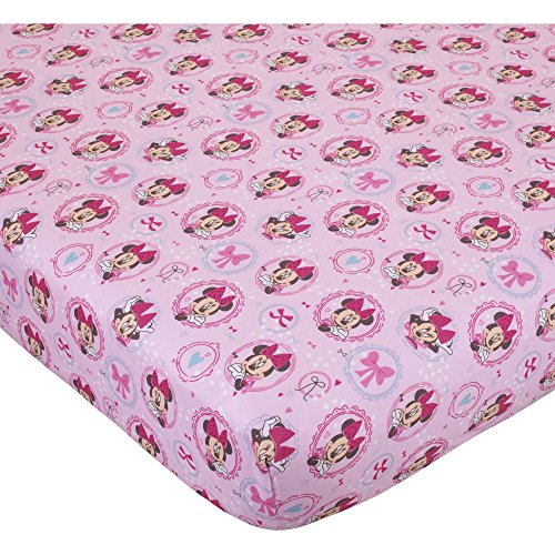 Ln Beautiful Girls Pink Blue Purple Minnie Mouse Fitted Crib Sheet, Disney Themed Nursery Bedding, Infant Child Toddler Animal Character Bow Cartoon Animated Cute Adorable, Cotton