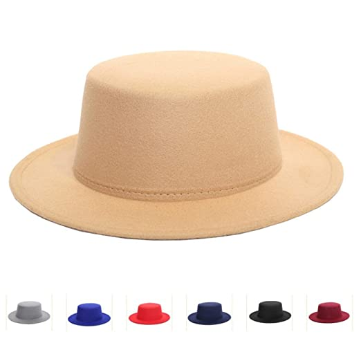 703f5091e2561 Amazon.com  Wool Felt Amish Style Boater Hats Fashion Winter Trilby Hat  Retro Solid Formal Party Flat Brim Flat Top Hat for Women Men Black   Clothing