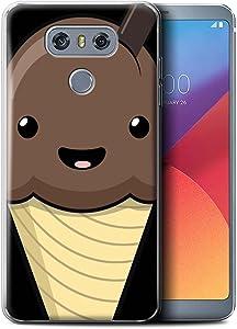 Phone Case for LG G6/H870/LS993/VS998 Kawaii Food Chocolate Ice Cream Design Transparent Clear Ultra Soft Flexi Silicone Gel/TPU Bumper Cover