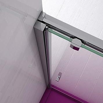 Mampara de Ducha FRONTAL - EstiloBaño® BOSTON - 1 Fijo y 1 Puerta Corredera - TRANSPARENTE - Cristal de Seguridad 6 mm -ANCHO 120 cm (medida adaptable 118 a 121 cm): Amazon.es: Bricolaje y herramientas