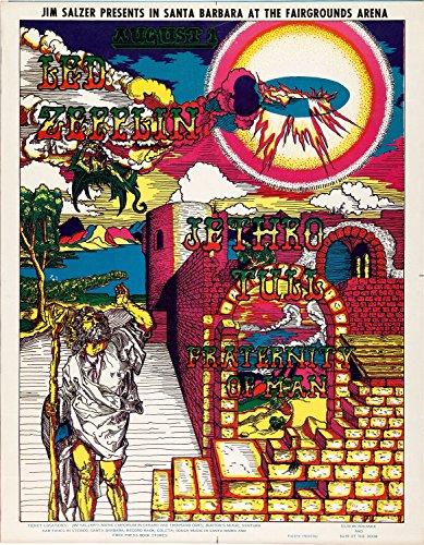 Old Tin Sign Concert Posters Led Zeppelin Jethro Tull Santa Barbara Fairgrounds Concert (Old Concert Posters)
