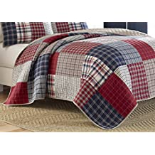 Nautica 214402 Ansell Cotton Pieced Quilt, Full/Queen, Red/Blue