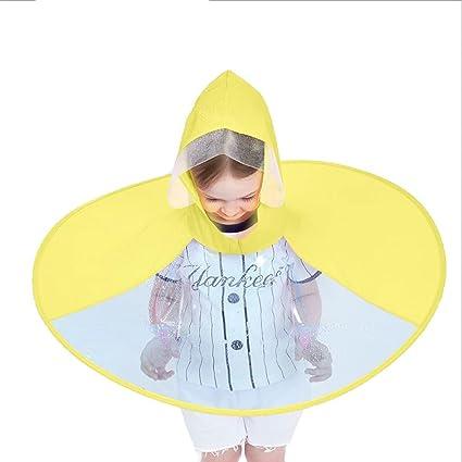 Mobeka Chubasquero Chubasquero de Manos Libres para niños Sombrero de OVNI para niños Chubasquero de niño