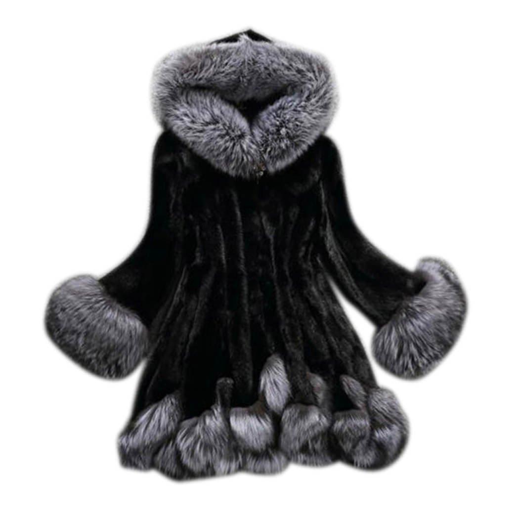 XWDA Faux Fur Coat Women Hooded Warm Winter Parka Soft Thick Fluffy Outwear